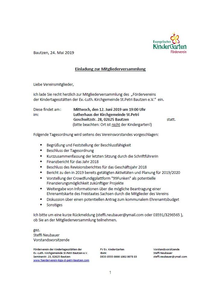 Einladung Mitgliederversammlung 12.06.19